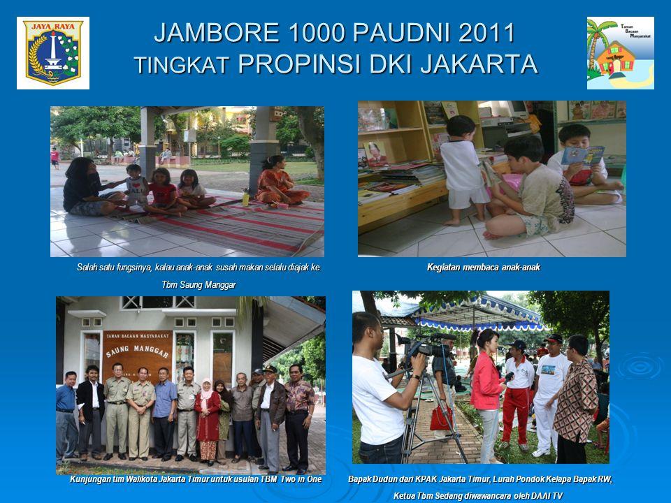 Salah satu fungsinya, kalau anak-anak susah makan selalu diajak ke Tbm Saung Manggar Kegiatan membaca anak-anak JAMBORE 1000 PAUDNI 2011 TINGKAT PROPI