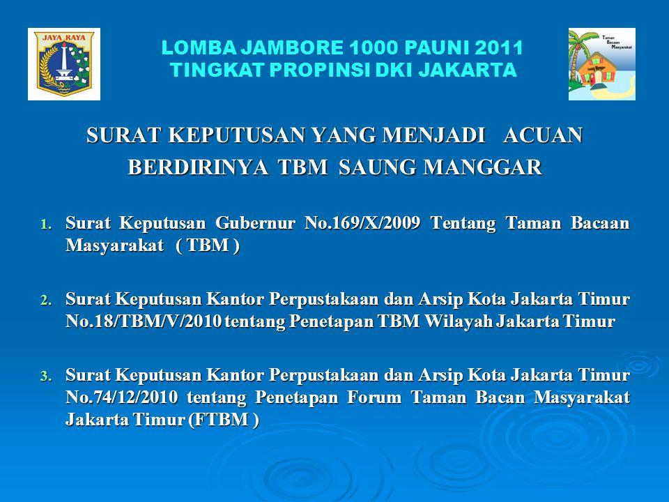 PRESTASI TBM SAUNG MANGGAR LOMBA JAMBORE 1000 PAUDNI 2011 TINGKAT PROPINSI DKI JAKARTA