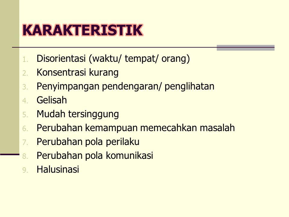 1. Disorientasi (waktu/ tempat/ orang) 2. Konsentrasi kurang 3. Penyimpangan pendengaran/ penglihatan 4. Gelisah 5. Mudah tersinggung 6. Perubahan kem