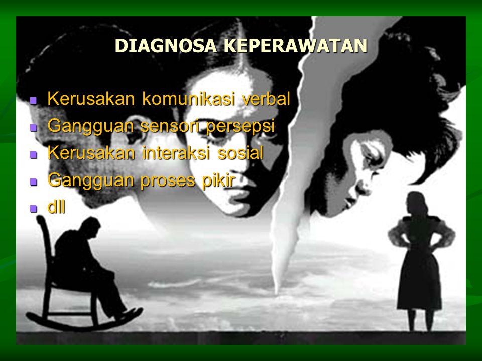 DIAGNOSA KEPERAWATAN Kerusakan komunikasi verbal Kerusakan komunikasi verbal Gangguan sensori persepsi Gangguan sensori persepsi Kerusakan interaksi s