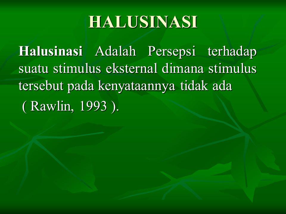 HALUSINASI Halusinasi Adalah Persepsi terhadap suatu stimulus eksternal dimana stimulus tersebut pada kenyataannya tidak ada ( Rawlin, 1993 ). ( Rawli