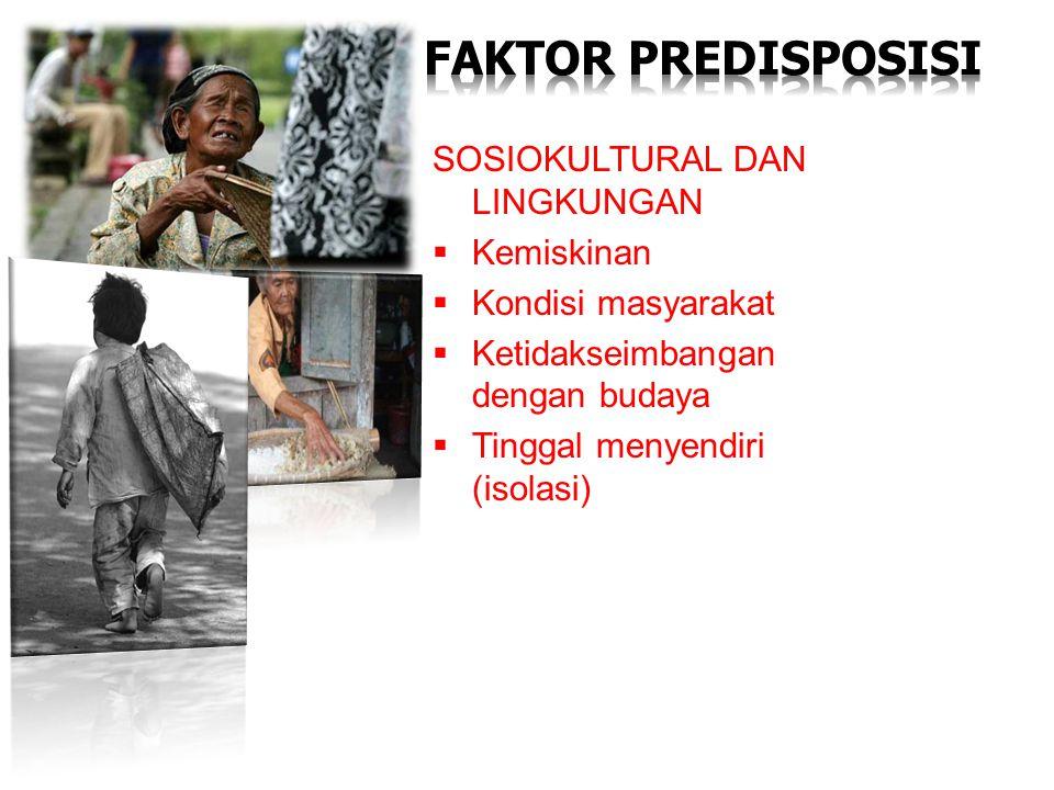 SOSIOKULTURAL DAN LINGKUNGAN  Kemiskinan  Kondisi masyarakat  Ketidakseimbangan dengan budaya  Tinggal menyendiri (isolasi)
