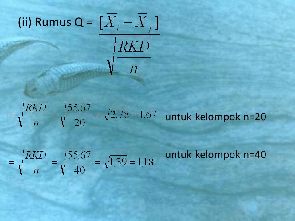 (ii) Rumus Q = untuk kelompok n=20 untuk kelompok n=40