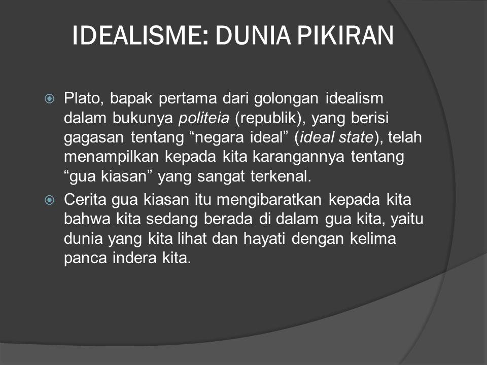 IDEALISME: DUNIA PIKIRAN  Plato, bapak pertama dari golongan idealism dalam bukunya politeia (republik), yang berisi gagasan tentang negara ideal (ideal state), telah menampilkan kepada kita karangannya tentang gua kiasan yang sangat terkenal.