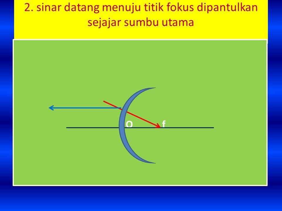 2. sinar datang menuju titik fokus dipantulkan sejajar sumbu utama O f