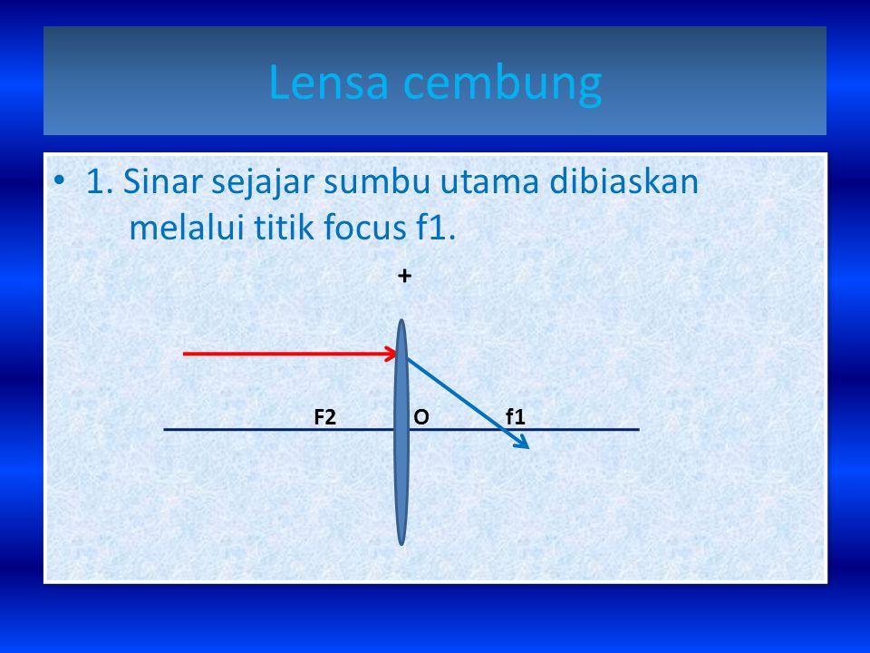 Lensa cembung 1. Sinar sejajar sumbu utama dibiaskan melalui titik focus f1.