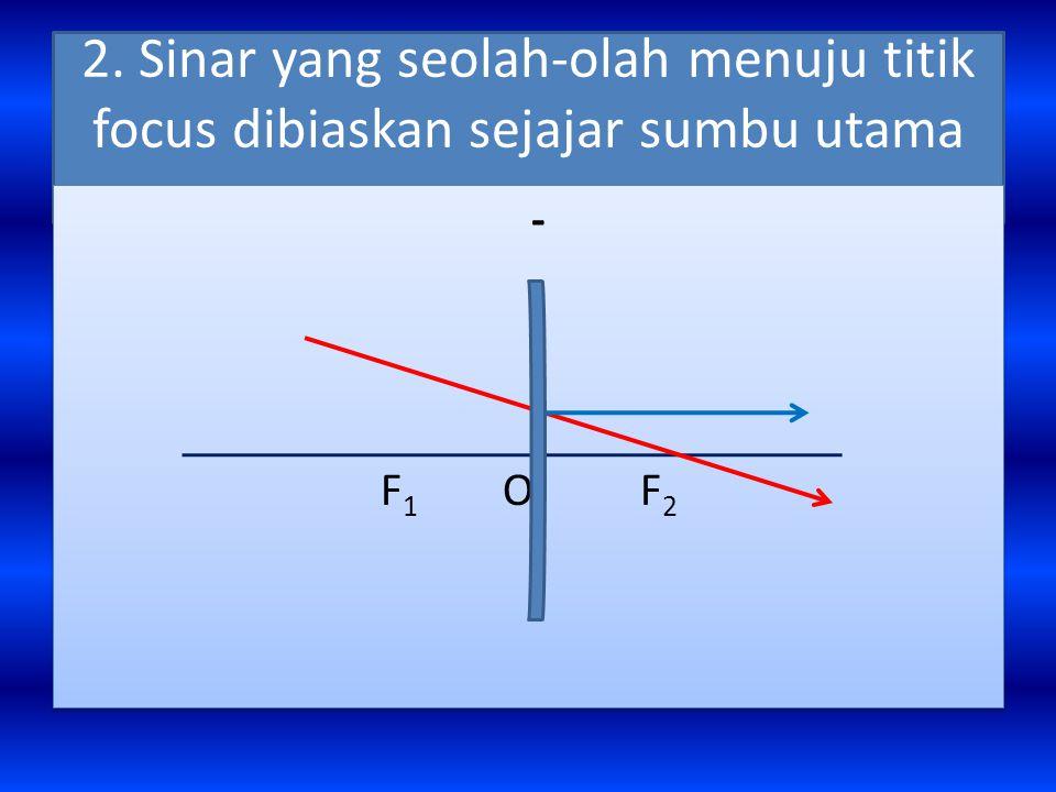 2. Sinar yang seolah-olah menuju titik focus dibiaskan sejajar sumbu utama - F 1 O F 2 -