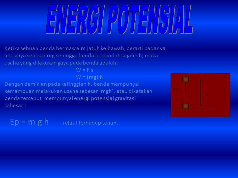 Ketika sebuah benda bermassa m jatuh ke bawah, berarti padanya ada gaya sebesar mg sehingga benda berpindah sejauh h, maka usaha yang dilakukan gaya pada benda adalah : W = F s W = (mg) h Dengan demikian pada ketinggian h, benda mempunyai kemampuan melakukan usaha sebesar `mgh`, atau dikatakan benda tersebut mempunyai energi potensial gravitasi sebesar : Ep = m g h relatif terhadap tanah.