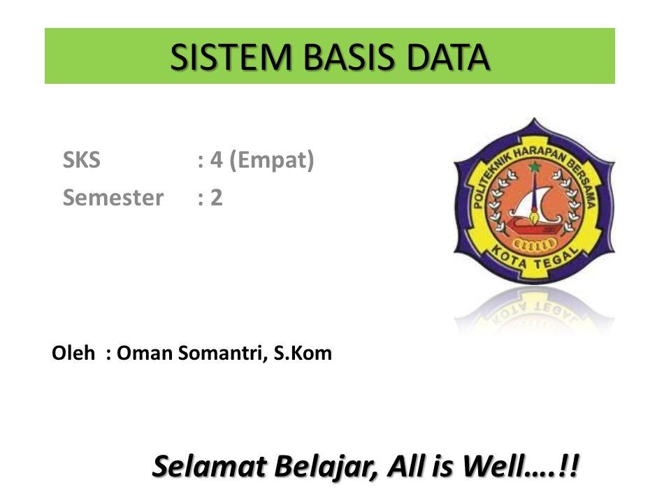 SISTEM BASIS DATA SKS: 4 (Empat) Semester: 2 Oleh : Oman Somantri, S.Kom Selamat Belajar, All is Well….!!