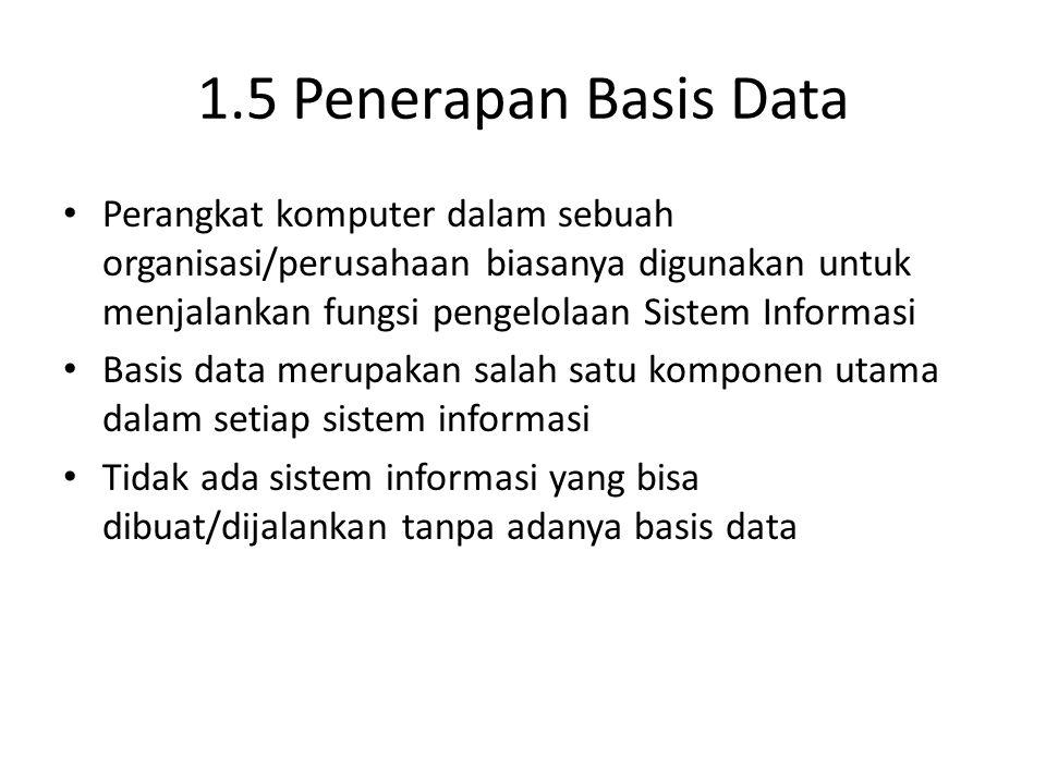 1.5 Penerapan Basis Data Perangkat komputer dalam sebuah organisasi/perusahaan biasanya digunakan untuk menjalankan fungsi pengelolaan Sistem Informas