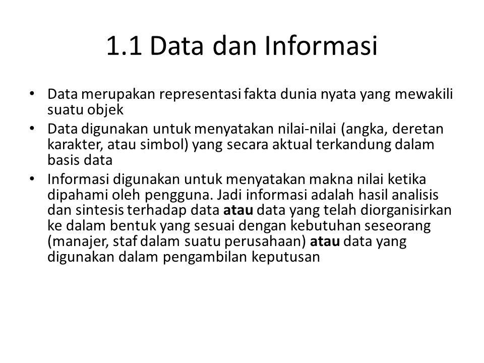 1.1 Data dan Informasi Data merupakan representasi fakta dunia nyata yang mewakili suatu objek Data digunakan untuk menyatakan nilai-nilai (angka, der