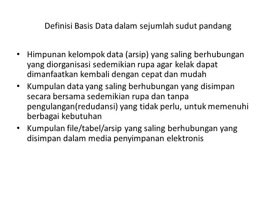 Definisi Basis Data dalam sejumlah sudut pandang Himpunan kelompok data (arsip) yang saling berhubungan yang diorganisasi sedemikian rupa agar kelak d
