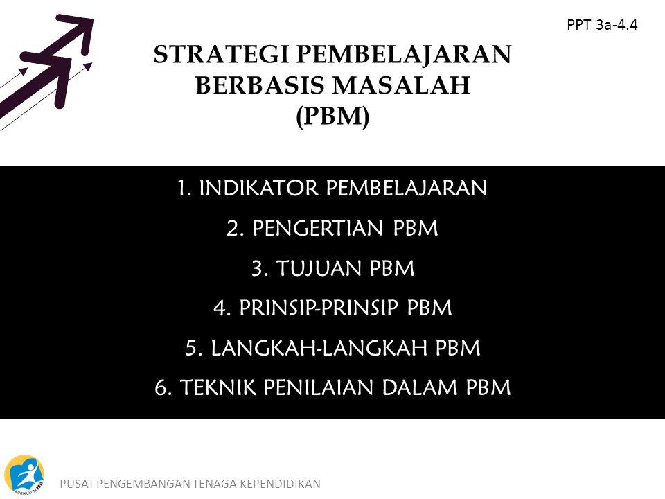 PUSAT PENGEMBANGAN TENAGA KEPENDIDIKAN5 STRATEGI PEMBELAJARAN BERBASIS MASALAH (PBM) 1.