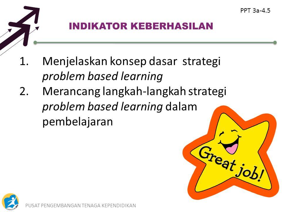 PUSAT PENGEMBANGAN TENAGA KEPENDIDIKAN6 INDIKATOR KEBERHASILAN 1.Menjelaskan konsep dasar strategi problem based learning 2.Merancang langkah-langkah strategi problem based learning dalam pembelajaran PPT 3a-4.5