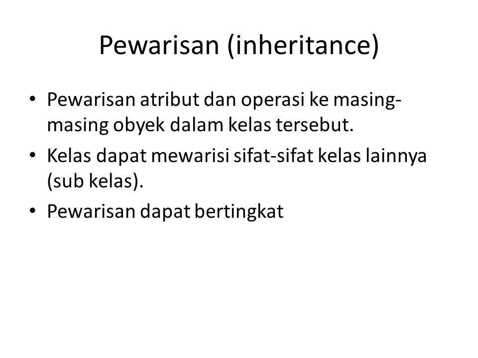 Pewarisan (inheritance) Pewarisan atribut dan operasi ke masing- masing obyek dalam kelas tersebut. Kelas dapat mewarisi sifat-sifat kelas lainnya (su