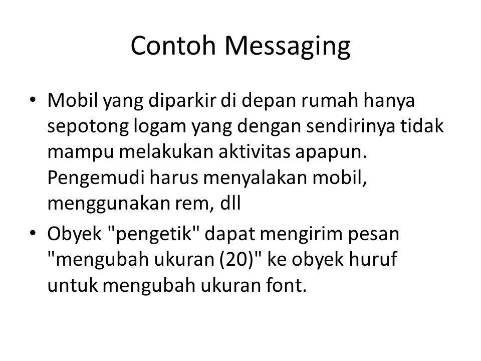 Contoh Messaging Mobil yang diparkir di depan rumah hanya sepotong logam yang dengan sendirinya tidak mampu melakukan aktivitas apapun. Pengemudi haru