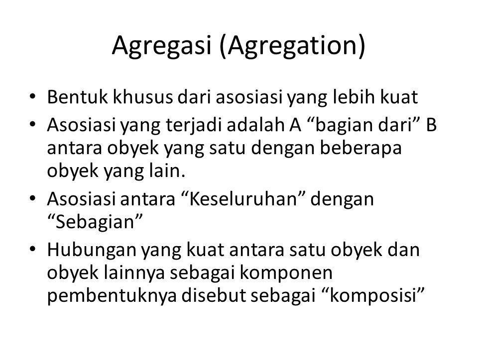 Agregasi (Agregation) Bentuk khusus dari asosiasi yang lebih kuat Asosiasi yang terjadi adalah A bagian dari B antara obyek yang satu dengan beberapa obyek yang lain.