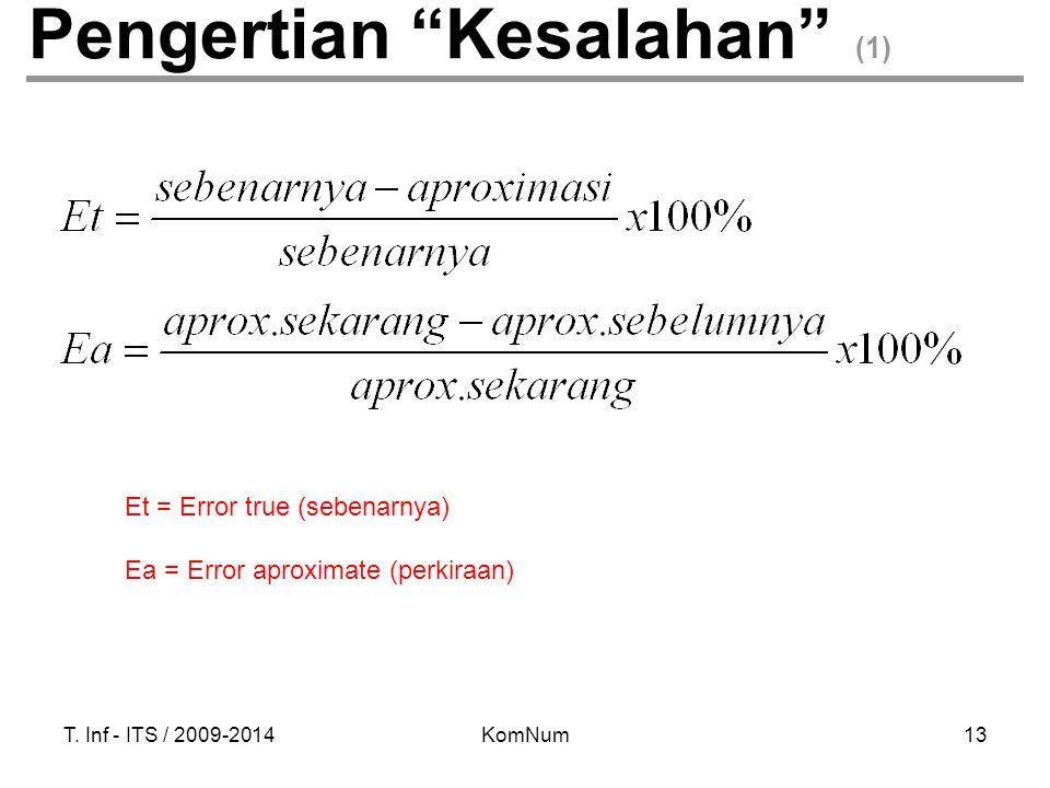 """T. Inf - ITS / 2009-2014KomNum13 Pengertian """"Kesalahan"""" (1) Et = Error true (sebenarnya) Ea = Error aproximate (perkiraan)"""