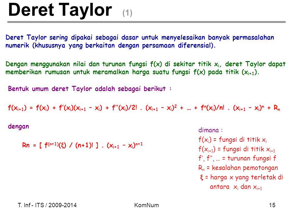 T. Inf - ITS / 2009-2014KomNum15 Deret Taylor sering dipakai sebagai dasar untuk menyelesaikan banyak permasalahan numerik (khususnya yang berkaitan d