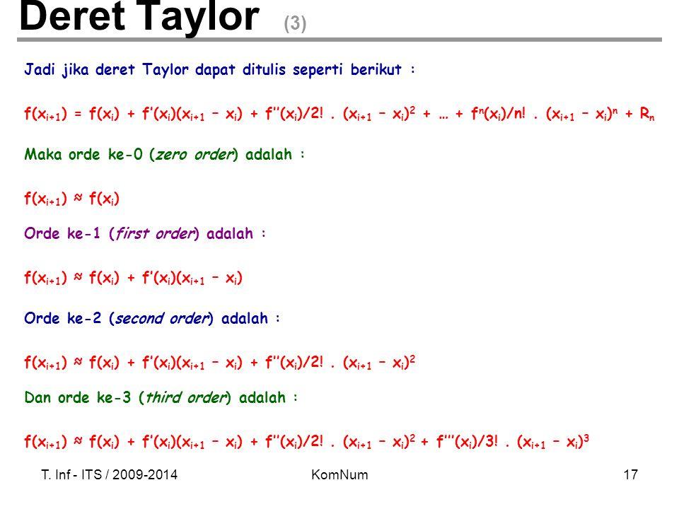 T. Inf - ITS / 2009-2014KomNum17 Jadi jika deret Taylor dapat ditulis seperti berikut : f(x i+1 ) = f(x i ) + f'(x i )(x i+1 – x i ) + f''(x i )/2!. (