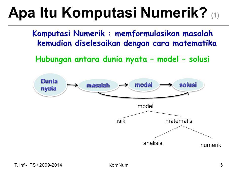 T. Inf - ITS / 2009-2014KomNum3 Apa Itu Komputasi Numerik? (1) Komputasi Numerik : memformulasikan masalah kemudian diselesaikan dengan cara matematik