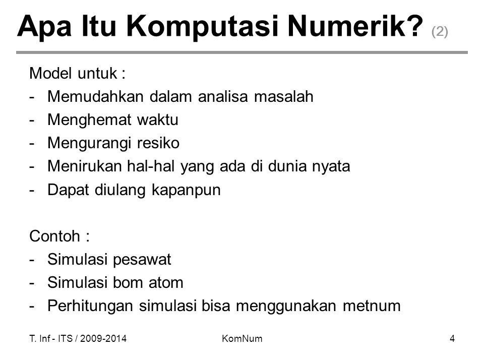 T. Inf - ITS / 2009-2014KomNum4 Apa Itu Komputasi Numerik? (2) Model untuk : -Memudahkan dalam analisa masalah -Menghemat waktu -Mengurangi resiko -Me