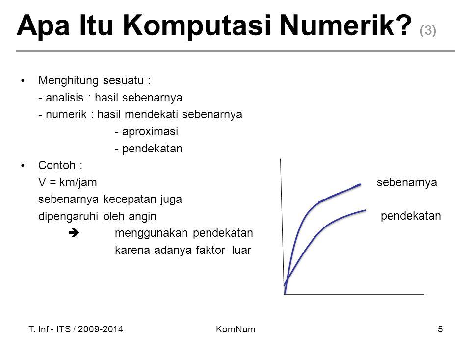 T. Inf - ITS / 2009-2014KomNum5 Apa Itu Komputasi Numerik? (3) Menghitung sesuatu : - analisis : hasil sebenarnya - numerik : hasil mendekati sebenarn