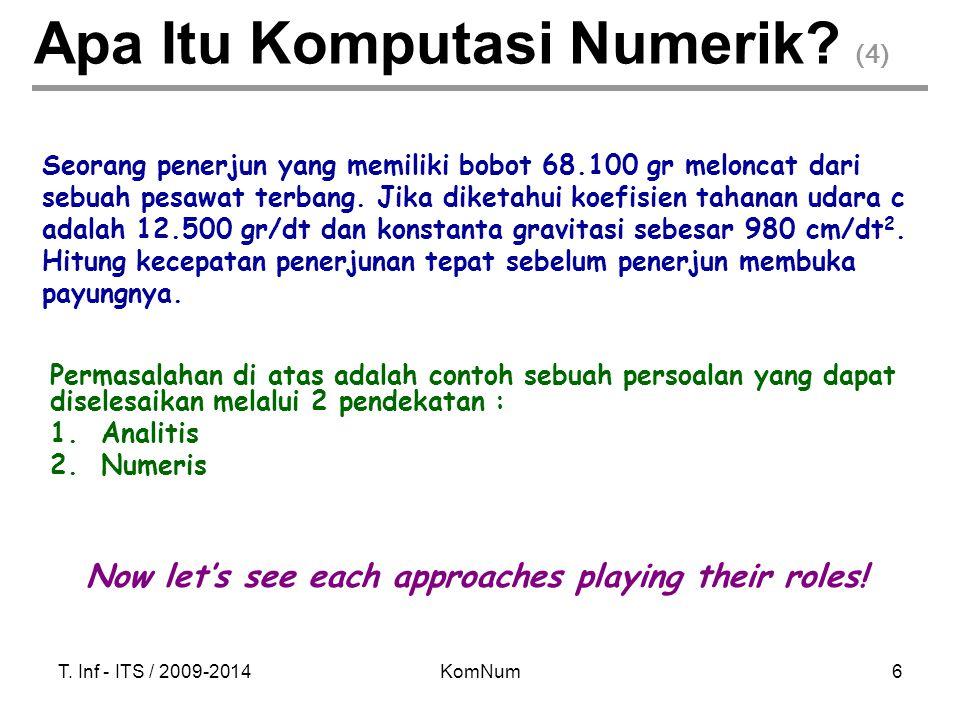 T. Inf - ITS / 2009-2014KomNum6 Apa Itu Komputasi Numerik? (4) Permasalahan di atas adalah contoh sebuah persoalan yang dapat diselesaikan melalui 2 p