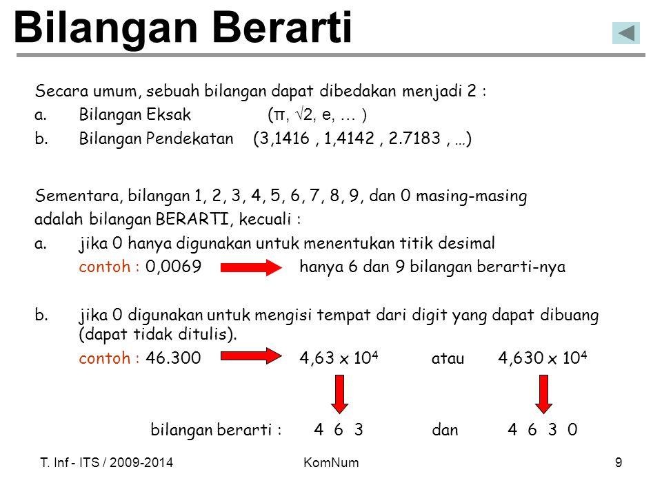 T. Inf - ITS / 2009-2014KomNum9 Bilangan Berarti Secara umum, sebuah bilangan dapat dibedakan menjadi 2 : a.Bilangan Eksak ( π, √2, e, … ) b.Bilangan