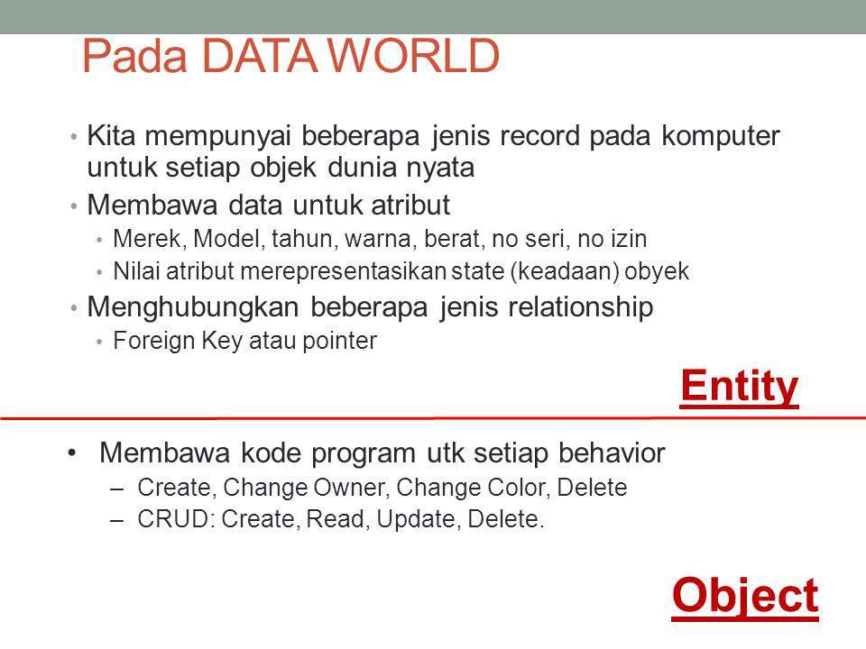 Pada DATA WORLD Kita mempunyai beberapa jenis record pada komputer untuk setiap objek dunia nyata Membawa data untuk atribut Merek, Model, tahun, warn