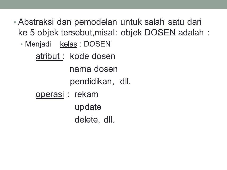 Abstraksi dan pemodelan untuk salah satu dari ke 5 objek tersebut,misal: objek DOSEN adalah : Menjadi kelas : DOSEN atribut : kode dosen nama dosen pe