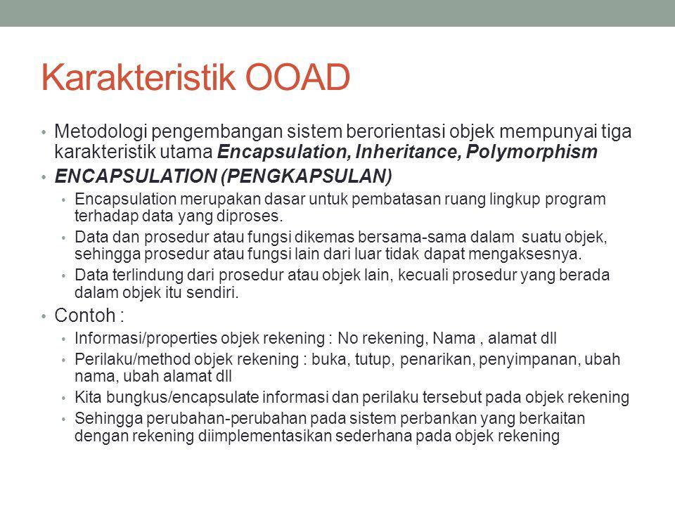 Karakteristik OOAD Metodologi pengembangan sistem berorientasi objek mempunyai tiga karakteristik utama Encapsulation, Inheritance, Polymorphism ENCAP