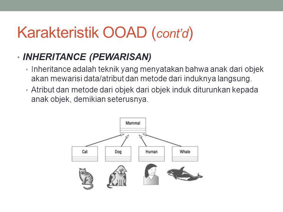 Karakteristik OOAD ( cont'd ) INHERITANCE (PEWARISAN) Inheritance adalah teknik yang menyatakan bahwa anak dari objek akan mewarisi data/atribut dan m