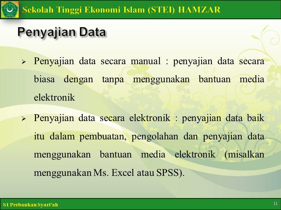  Penyajian data secara manual : penyajian data secara biasa dengan tanpa menggunakan bantuan media elektronik  Penyajian data secara elektronik : penyajian data baik itu dalam pembuatan, pengolahan dan penyajian data menggunakan bantuan media elektronik (misalkan menggunakan Ms.