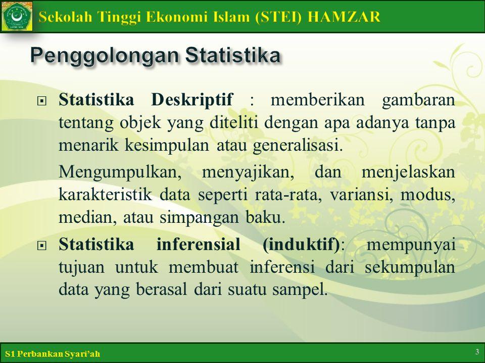  Statistika Deskriptif : memberikan gambaran tentang objek yang diteliti dengan apa adanya tanpa menarik kesimpulan atau generalisasi.
