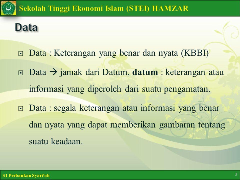  Data : Keterangan yang benar dan nyata (KBBI)  Data  jamak dari Datum, datum : keterangan atau informasi yang diperoleh dari suatu pengamatan.