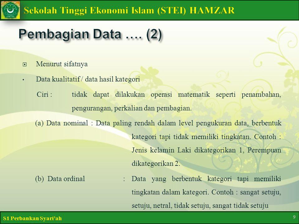  Menurut sifatnya Data kualitatif / data hasil kategori Ciri :tidak dapat dilakukan operasi matematik seperti penambahan, pengurangan, perkalian dan pembagian.