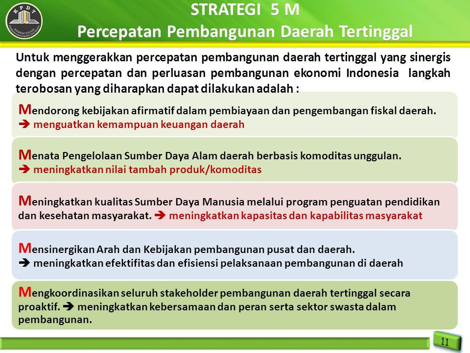 STRATEGI 5 M Percepatan Pembangunan Daerah Tertinggal STRATEGI 5 M Percepatan Pembangunan Daerah Tertinggal M endorong kebijakan afirmatif dalam pembi