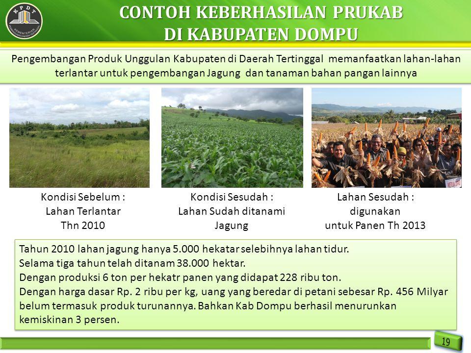 Pengembangan Produk Unggulan Kabupaten di Daerah Tertinggal memanfaatkan lahan-lahan terlantar untuk pengembangan Jagung dan tanaman bahan pangan lain