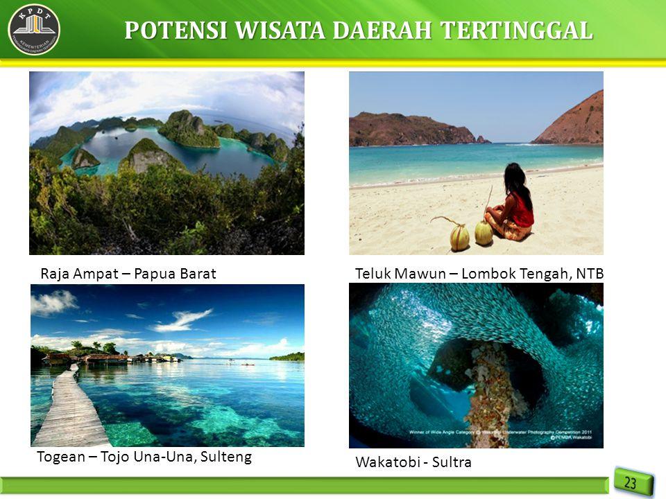 POTENSI WISATA DAERAH TERTINGGAL Raja Ampat – Papua BaratTeluk Mawun – Lombok Tengah, NTB Togean – Tojo Una-Una, Sulteng Wakatobi - Sultra