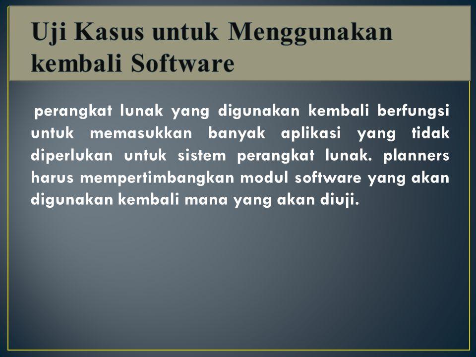 perangkat lunak yang digunakan kembali berfungsi untuk memasukkan banyak aplikasi yang tidak diperlukan untuk sistem perangkat lunak.