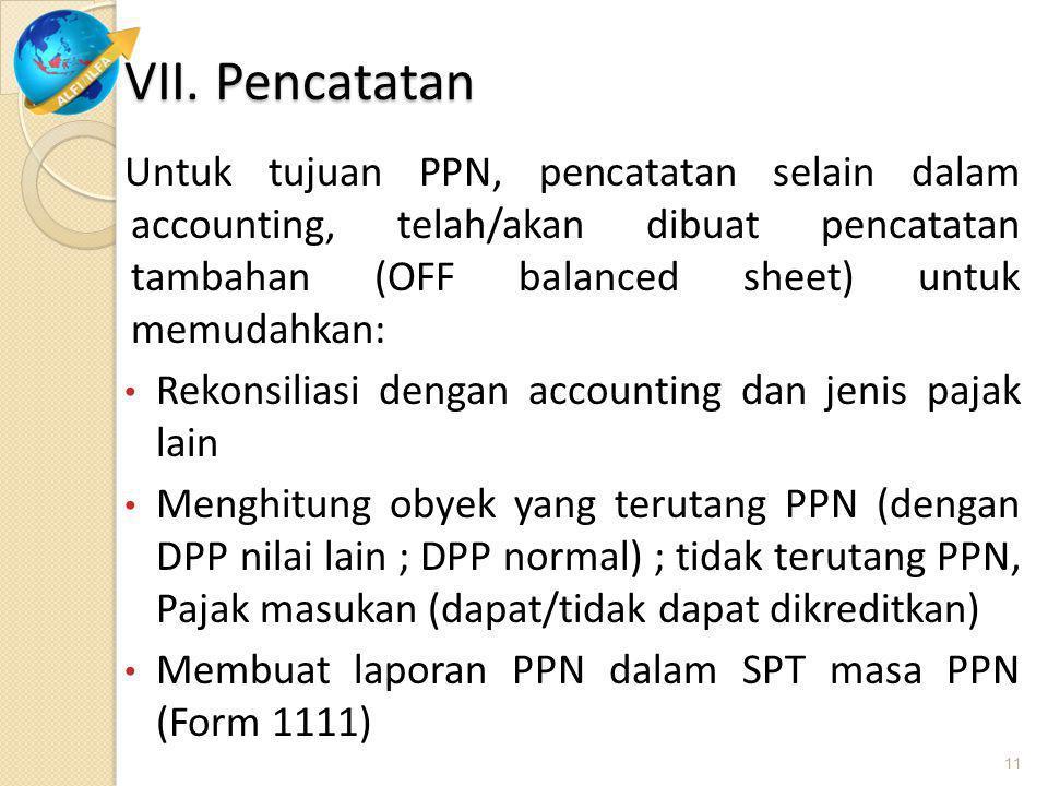 VII. Pencatatan Untuk tujuan PPN, pencatatan selain dalam accounting, telah/akan dibuat pencatatan tambahan (OFF balanced sheet) untuk memudahkan: Rek