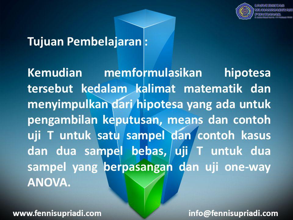 Pokok Bahasan : Konsep Dasar Pengujian Hipotesa Uji Statistik Compare Mean www.fennisupriadi.cominfo@fennisupriadi.com