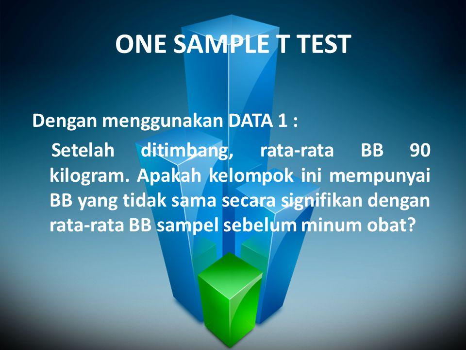 ONE SAMPLE T TEST Dengan menggunakan DATA 1 : Setelah ditimbang, rata-rata BB 90 kilogram. Apakah kelompok ini mempunyai BB yang tidak sama secara sig