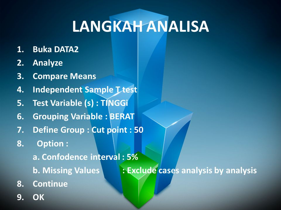 LANGKAH ANALISA 1.Buka DATA2 2.Analyze 3.Compare Means 4.Independent Sample T test 5.Test Variable (s) : TINGGi 6.Grouping Variable : BERAT 7.Define G