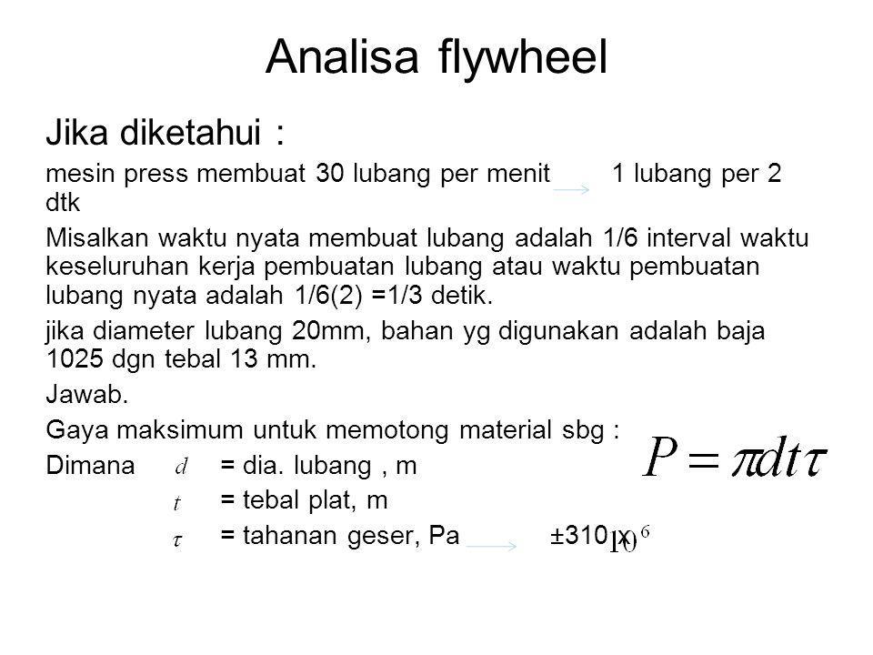 Analisa flywheel Jika diketahui : mesin press membuat 30 lubang per menit 1 lubang per 2 dtk Misalkan waktu nyata membuat lubang adalah 1/6 interval w