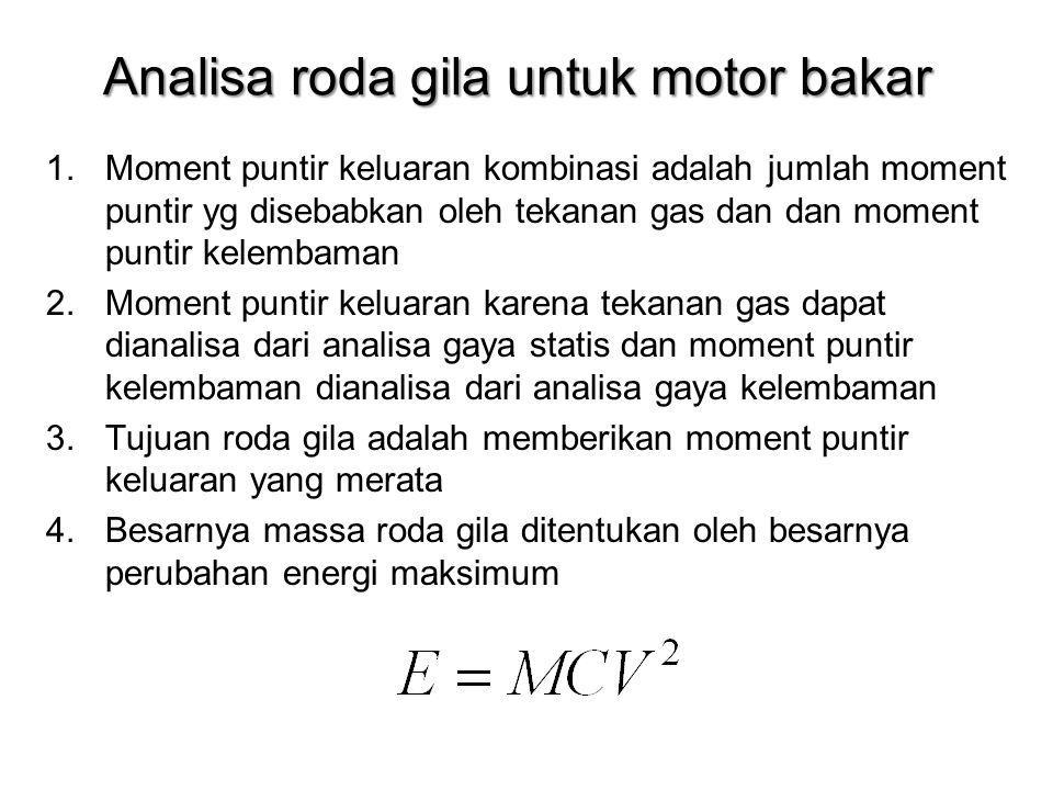 Analisa roda gila untuk motor bakar 1.Moment puntir keluaran kombinasi adalah jumlah moment puntir yg disebabkan oleh tekanan gas dan dan moment punti