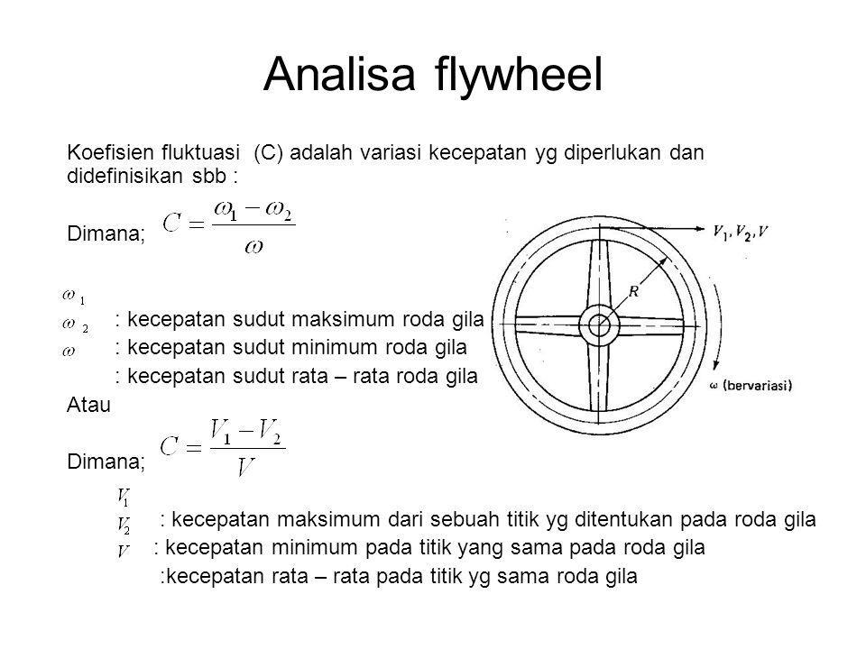 Analisa flywheel Koefisien fluktuasi (C) adalah variasi kecepatan yg diperlukan dan didefinisikan sbb : Dimana; : kecepatan sudut maksimum roda gila :