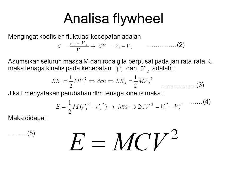 Analisa flywheel Mengingat koefisien fluktuasi kecepatan adalah ……………(2) Asumsikan seluruh massa M dari roda gila berpusat pada jari rata-rata R. maka