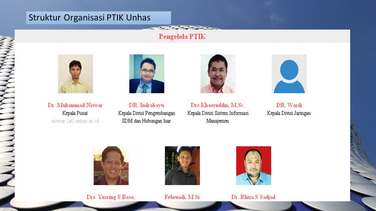 Struktur Organisasi PTIK Unhas Kepala Pusat PTIK Dr-Eng. Muhammad Niswar, ST., M.IT. Kepala Devisi Jaringan Komputer & Telekomunikasi Kepala Devisi Pe